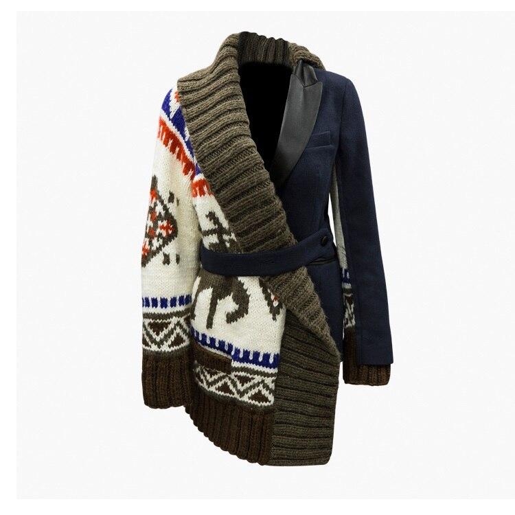 high quality knitting patchwork warm coat autumn winter turn down collar sweater long sleeve women jacket runway brand coat F163