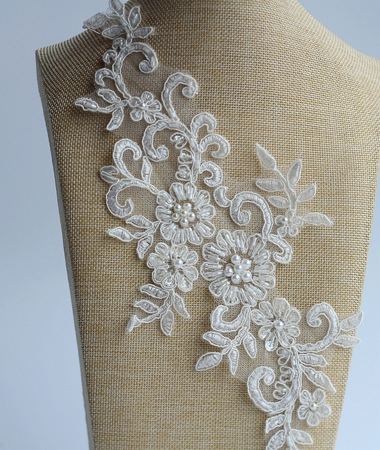 Ivory Alencon Lace Applique Beaded Sequined Patch For Wedding Supplies Bridal Hair Flower Headpiece