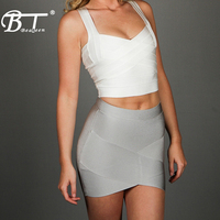 Beateen 2019 New Sexy Women's Bandage Crop Top Elastic Tank Top V Neck Lady's Camis Vest Sleeveless Fashion