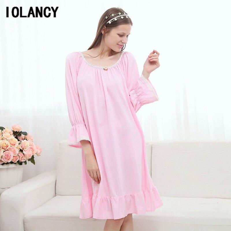 цена на Korean Autumn Winter Lace Nightgown Pajamas Dress Large Size Home Furnishing Long Sleeved Pregnant Women Pijamas Clothes YFQ174