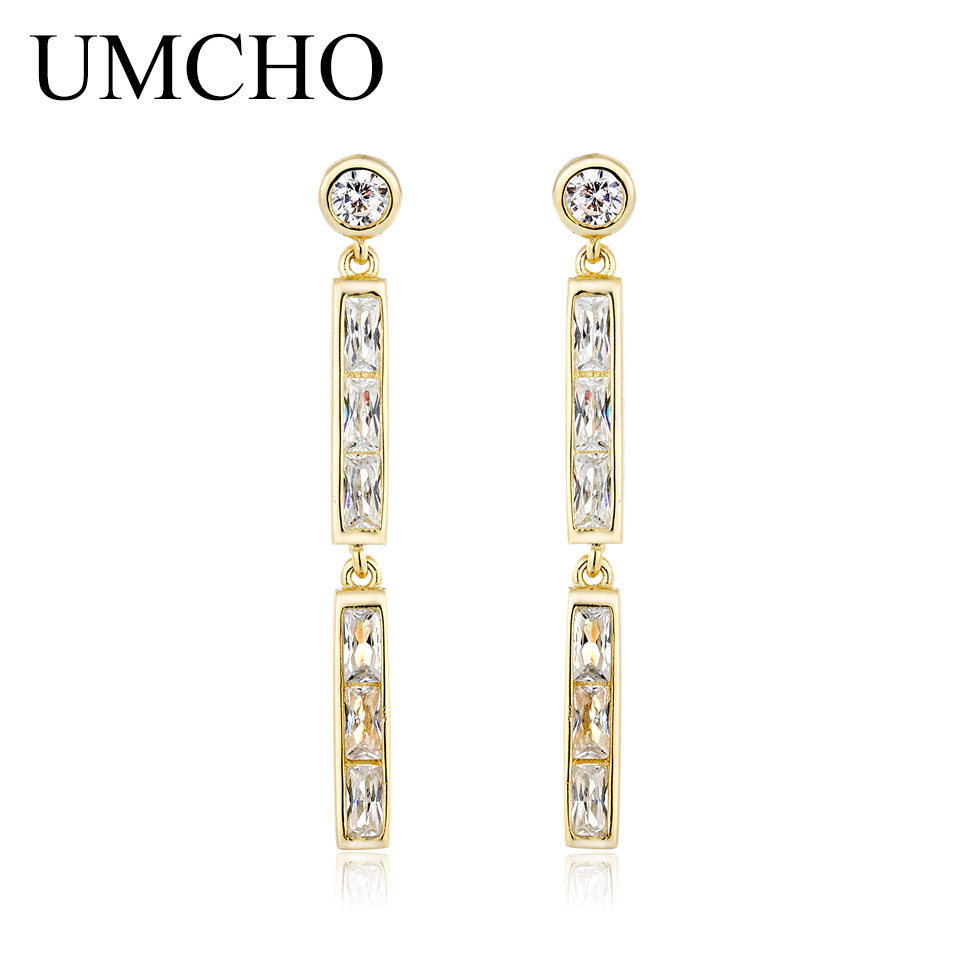 UMCHO 925 Sterling Silver Statement Drop Tassel Earrings For Women Bridal Dangle Earrings Yellow Gold Color Fine Jewelry gold silver color circle colorful tassel drop earrings