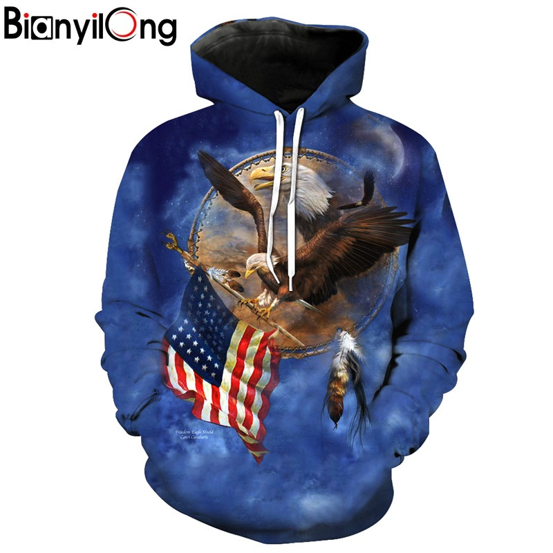 BIANYILONG 2018 new Hoodies man Fly Eagle to seize the American Flag Blue Hooded Sweatshirt printed Autumn Pullover hoodies