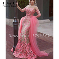Árabe Sirena Rosada del Vestido de Noche Con El Tren de Encaje Baile Vestidos Largos Elegantes Vestidos Gorgeous Mangas Largas Vestidos de Noche