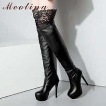 Meotina Winter Thigh High Boots Women Sexy Lace Platform Thin Heel Over The Knee Boots Extreme High Heel Shoes Lady Autumn 33-43 недорого