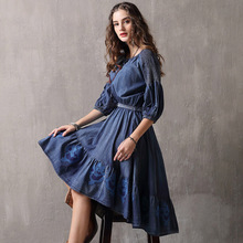 Famous brand womens clothing 2019 spring and autumn straps big swing  embroidery irregular denim women