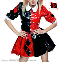 Sexy Clown Latex dress clothes Rubber bodycon playsuit turn down collar buttons at front with block decorations XXXL QZ 071