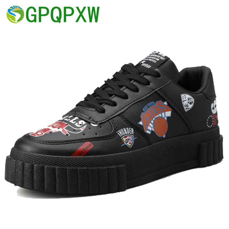 2018 New Brand PU Men s Sneakers Basketball Shoes Graffit Trends Casual Shoes Wear resistant Breathable
