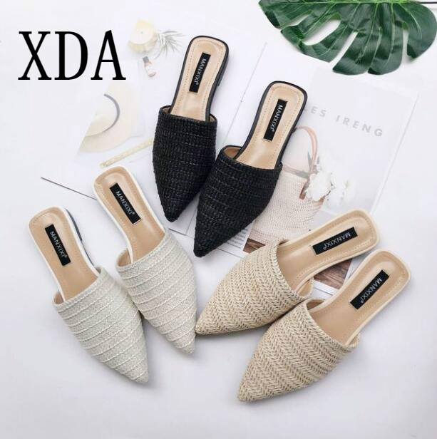 XDA TOP Quality Weave Fashion Knitted Lady sandals Summer Female slipper Pointed Toe Half Flat Slipper Mules Slides Casual Shoes