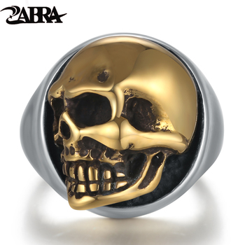 ZABRA 925 Sterling Silver Rose Gold 18mm กะโหลกศีรษะแหวนผู้หญิง Mens บุคลิกภาพ Biker Vintage Punk เครื่องประดับ aneis de prata 925