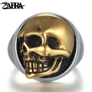 Image 1 - ZABRA 925 Sterling Silver Rose Gold 18mm Skull Ring for Women Mens Personality Biker Vintage Punk Jewelry aneis de prata 925