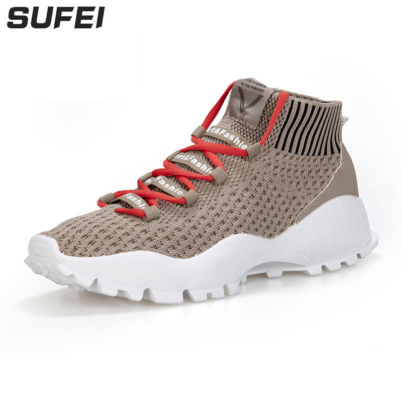 sufei Running Shoes Men Summer Spring Outdoor Sneakers Light Breathable Athletic Mesh Shoes Footwear mesh letter pattern athletic shoes