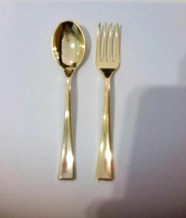 120pcs Plastic Disposable Gold Spoons And 120pcs Mini Gold Forks Fit For Party Dessert Coffe Cake Event