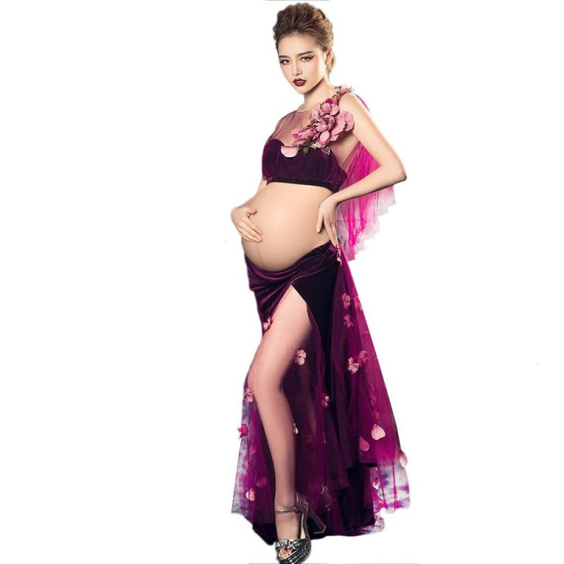 Sexy Fashion Maternity Dress for Photo Shoot Maxi Maternity Gown Lace Fancy Sexy Women Maternity Photography Props clothing G3