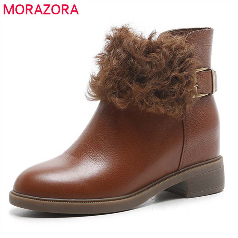 MORAZORA 2019 newest genuine leather boots women autumn winter ankle boots round toe fashion  boots casual shoes womanMORAZORA 2019 newest genuine leather boots women autumn winter ankle boots round toe fashion  boots casual shoes woman