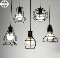 9 kinds Creative Iron cage pendant light wrought iron lampshade Loft warehouse dining room cafe industrial vintage hanging lamp