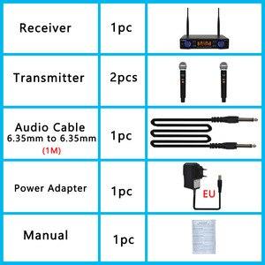 Image 5 - LO U02 UHF ארוך טווח כפול ערוץ 2 כף יד מיקרופון משדר מקצועי קריוקי UHF מיקרופון אלחוטי מערכת
