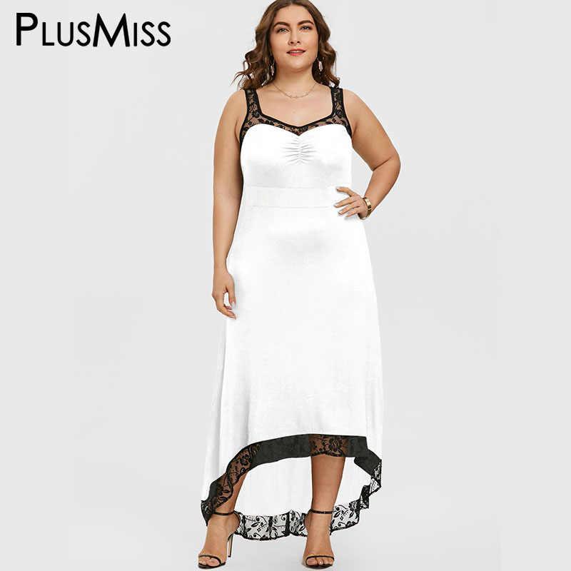 ... PlusMiss Plus Size 5XL Sexy High Low Maxi Long Party Dress Women  Clothing Robe Femme Lace ... c324fdd47d60