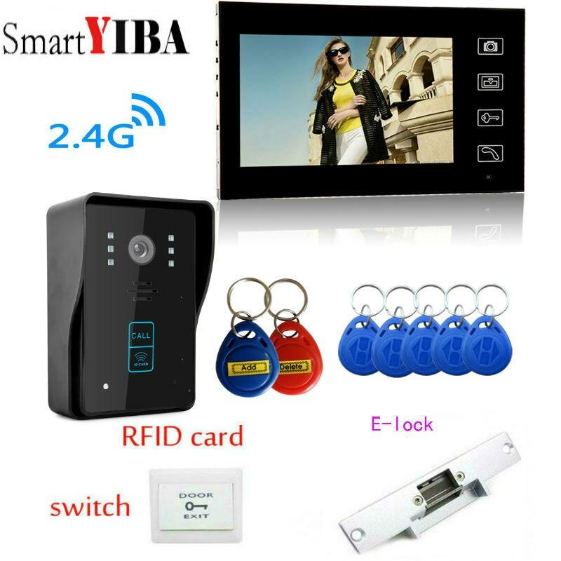 SmartYIBA 7 Беспроводной видеодомофон дверной звонок с сенсорным ключ ЖК дисплей переговорные RFID ИК Ночное видение Камера + без замка двери + кно