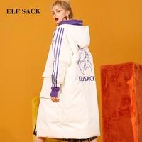 ELF SACK New Warm Woman Down Coat 90% White Duck Down Women Jacket Casual Full Letter Wide wasited Femme Winter Streetwear Coats