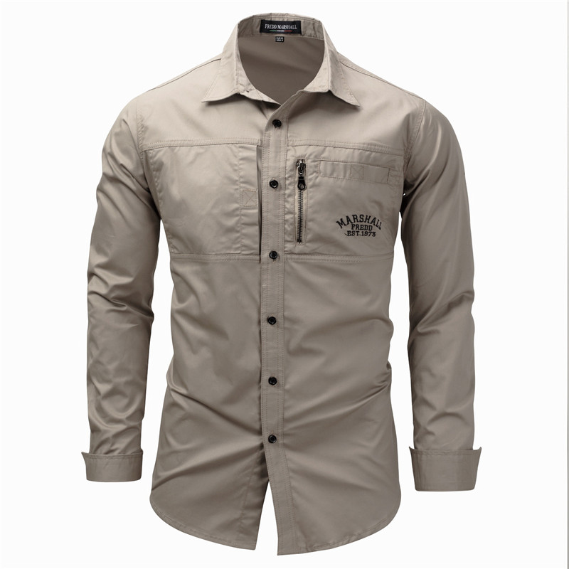 Fredd Marshall Fashion Men's Shirts Cotton Solid Color Long Sleeve Male Shirt with Zipper Pockets Camisa Masculina Plus Size (1)