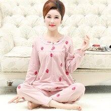41a802302c Women s Long Sleeve Pajamas Set Autumn Winter 100%Cotton Female Pyjamas  Leisure Elegant Loose Soft Ladies Homewear Clothes L-3XL