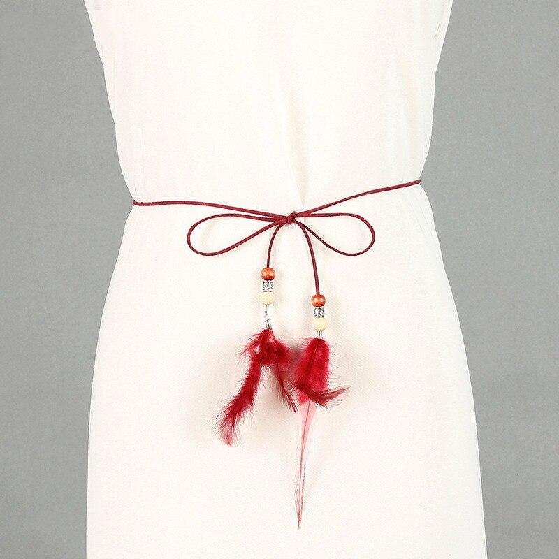 Decorativo pollo trenzado cinturón de plumas cadena delgada faja cinturón para las mujeres cintura cadena partido accesorios calientes