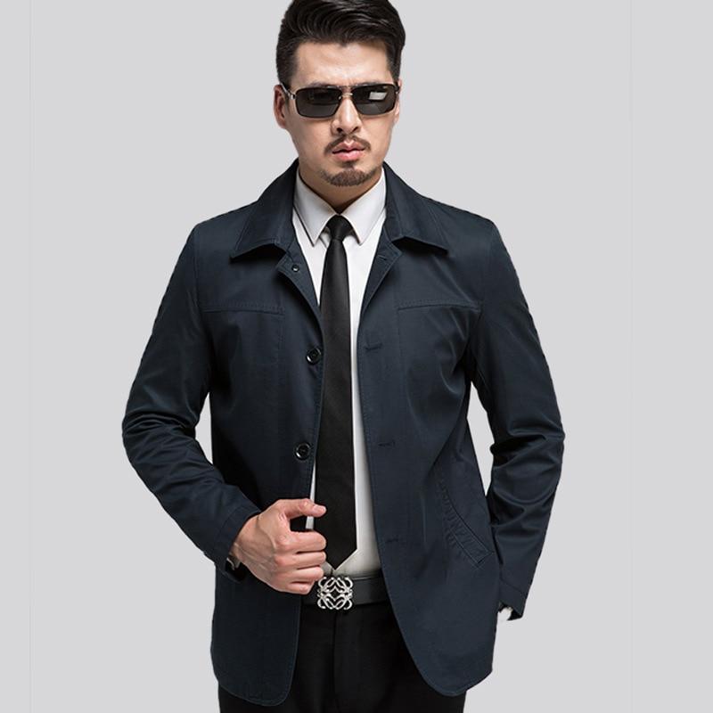Plus Size XXXL Famous Brand Mens Coats Single Breasted Man Trench Coat Black Khaki 2017 Spring Men's Clothing Jackets