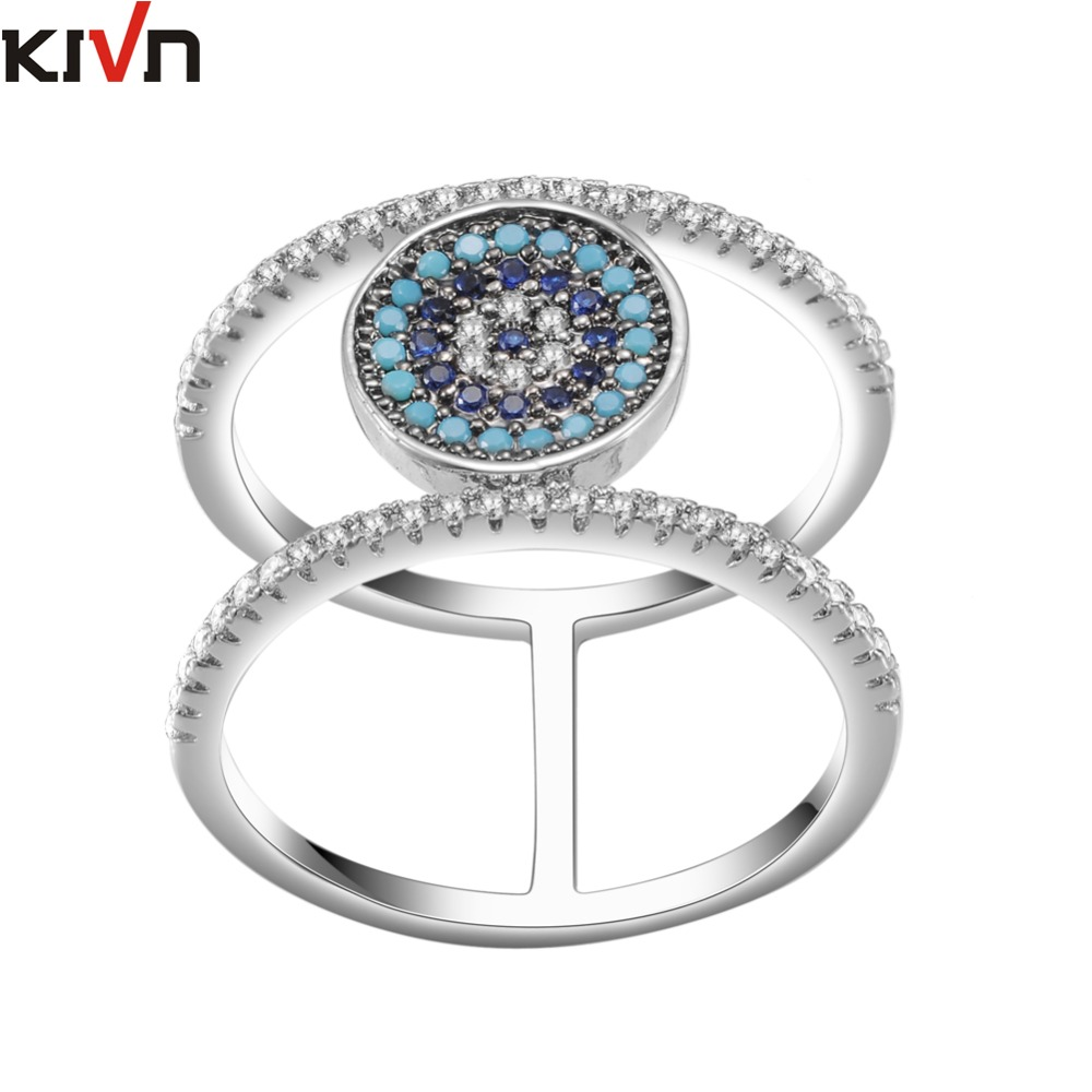 KIVN Fashion Jewelry CZ Cubic Zirconia Turkish Blue eye Bridal Wedding Engagement Rings for Women Girls Birthday Christmas Gifts