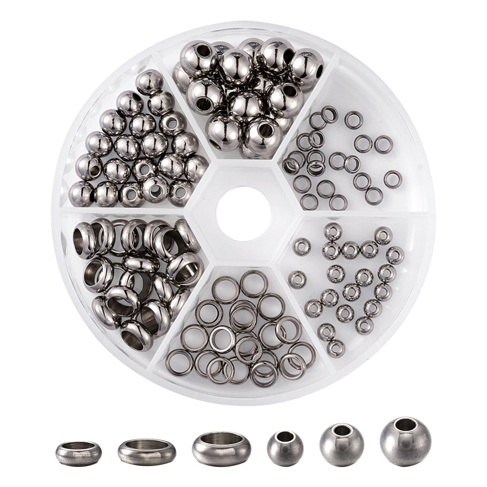 304 Stainless Steel Beads Round Mixed Size, Stainless Steel Color, 8x2cm; 120pcs/set304 Stainless Steel Beads Round Mixed Size, Stainless Steel Color, 8x2cm; 120pcs/set