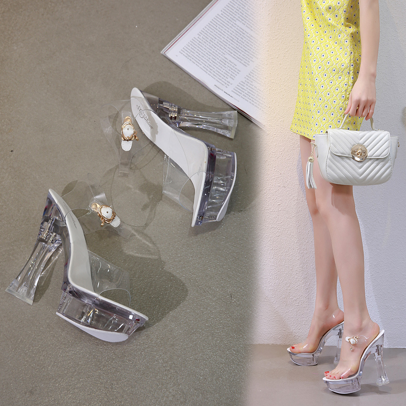 Steel Tube Dancing Female Shoes Crystal Transparent Shoes Women Summer High Heel 14.5CM Peep Toe Nightclub Sandals Wedding Shoes 5