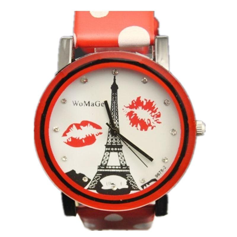 Noua femeie de moda Eiffel Tower Elegant farmecul Designer de buze ceas 8 centimetri din piele de culoare ceas Spot Fashion Girl Womage cuarț ceas
