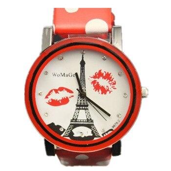 New Women Fashion Eiffel Tower Elegant Charm Lip Designer Watch 8 Color Leather Belt Watch Spot Fashion Girl Womage Quartz Watch
