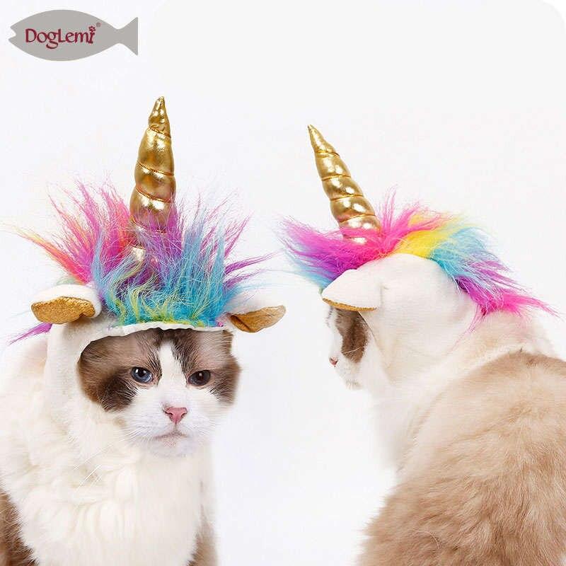 Cat Unicorn Hat Halloween Festival Cat Dog Cosplay Mane Cap Teddy Puppy Decorative Headgear Scarf Pet Novel Headwear Costume