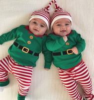 Baby Christmas Clothes Long Sleeved Rompers+Stripe Long Pants Clothes+Hats 3PCS Outfits Set Boys Girls Infant Costume