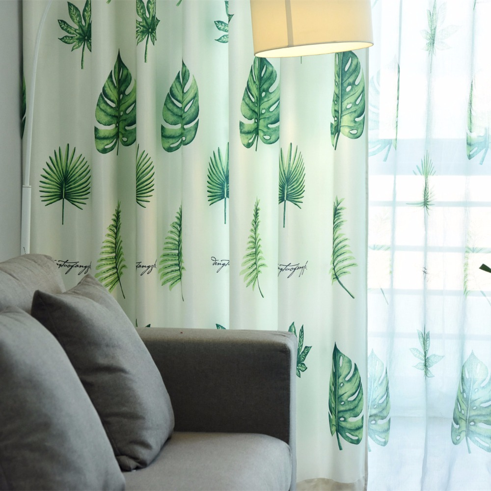 Tropical Grünpflanzen Gedruckt Vorhänge Für Wohnzimmer Moderne Blackout Vorhang Einfache Fenster Behandlung Vorhänge Nach Maß Heimtextilien