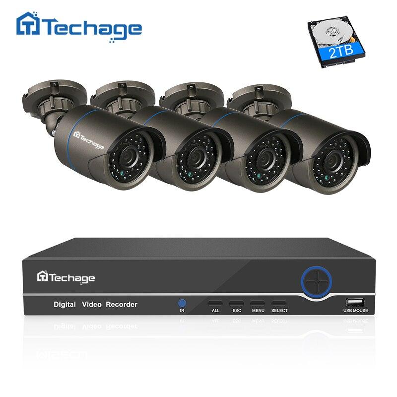 imágenes para Sistema CCTV 8CH POE NVR 1080 P 4 UNIDS Techage 3000TVL 2.0MP IP cámara P2P IR cámara de Interior Al Aire Libre de Vídeo de Vigilancia de Seguridad Kit de 1 TB HDD