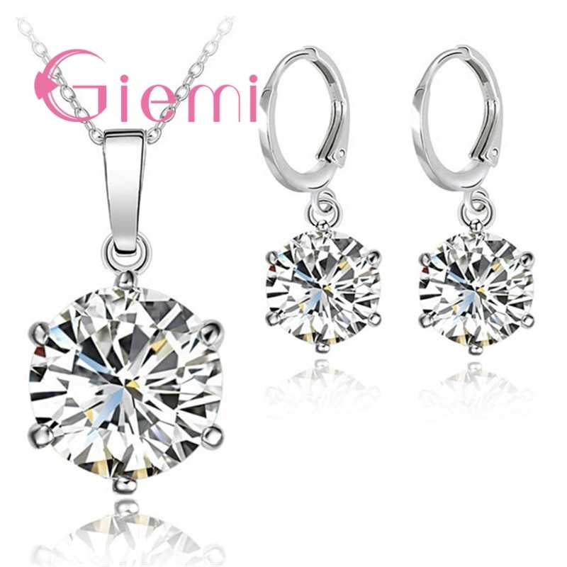 Various Colors Original Necklace Pendant Earrings Hoop Sets Good Cubic Zircon 925 Sterling Silver Clear Crystal Jewelry