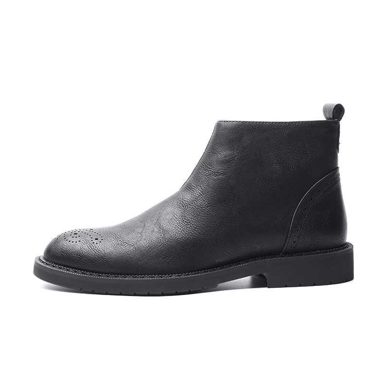 YIGER NIEUWE Mannen Enkellaars Lederen Chelsea Man Laarzen Bullock Laarzen Mode Vier seizoenen Stijl Zwart/Bruin Schoenen 0009