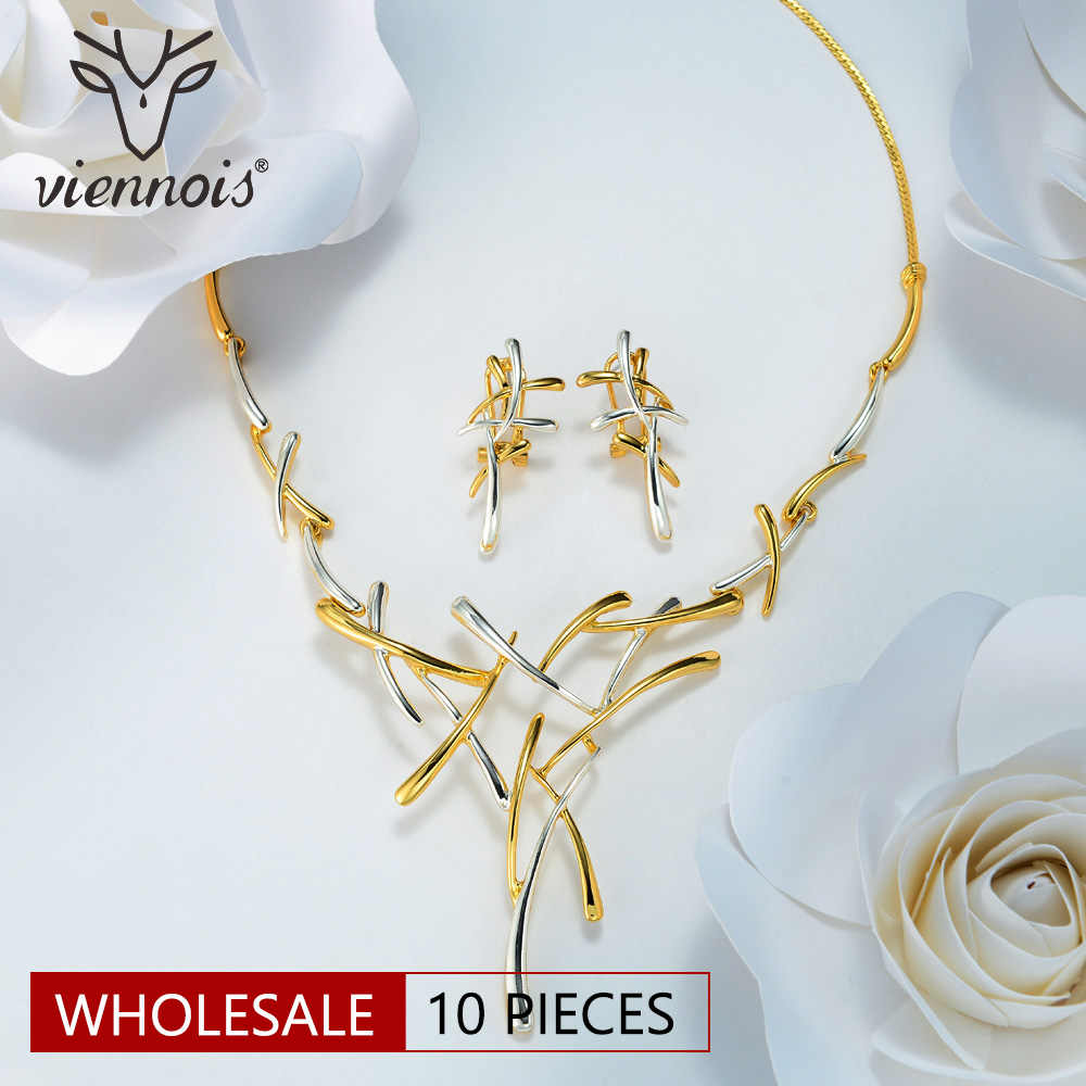 Viennois Wholesale Gold Color Metallic Earrings Statement Cross Jewelry Set for Women Punk Style Female Party Jewelry Sets