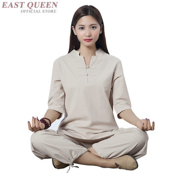 Womens two piece sets 2019 linen traditional chinese clothing for women outfits pant suits for women  FF798