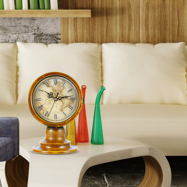Original double sided european retro style durable table clock with original double sided european retro style durable table clock with world map living room office restaurant gumiabroncs Image collections