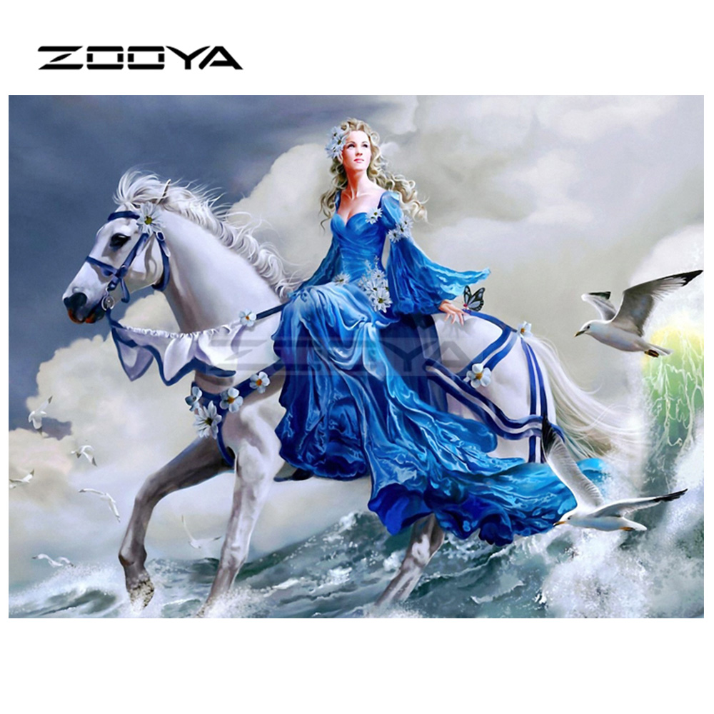 ZOOYA 5D DIY Diamond Embroidery Princess Girl Riding White Horse Diamond Painting Cross Stitch Square Mosaic Decoration BK652