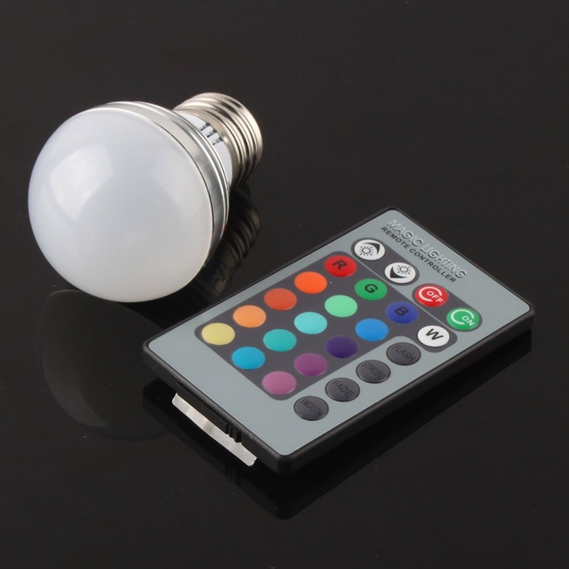 E27 E14 GU10 LED RGB Bulb lamp AC110V 220V 5W LED RGB Spot light dimmable magic Holiday RGB lighting+IR Remote Control home diy