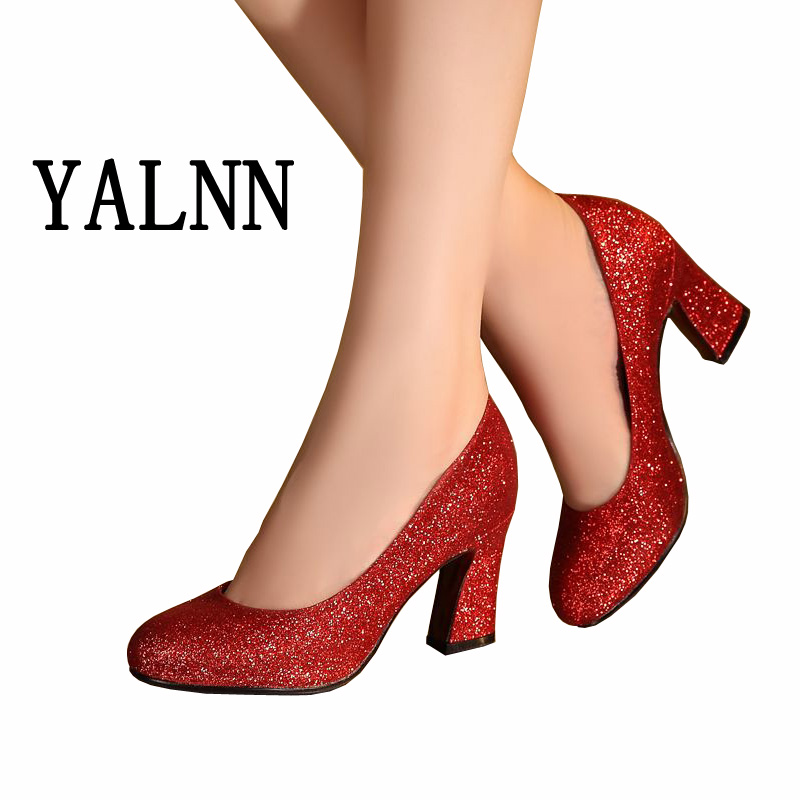 ФОТО Women's Party Shoes High Block Heel  Red Round Toe Fashion Sexy Pumps Gold Wedding Bridal Shoes Pumps