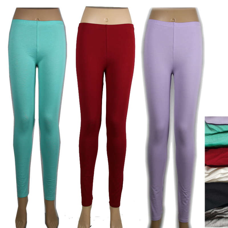 Shikoroleva Solid Color Leggings 2019 Women Modal Cotton Skinny Jeggings Pants Red Purple Pink Girl Blacak 6XL 5XL XS Leg Pants