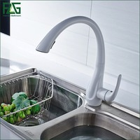 FLG Multiple Choices White Painting Kitchen Faucet Pull Out Torneira 2 Function Water Outlet Cold Hot