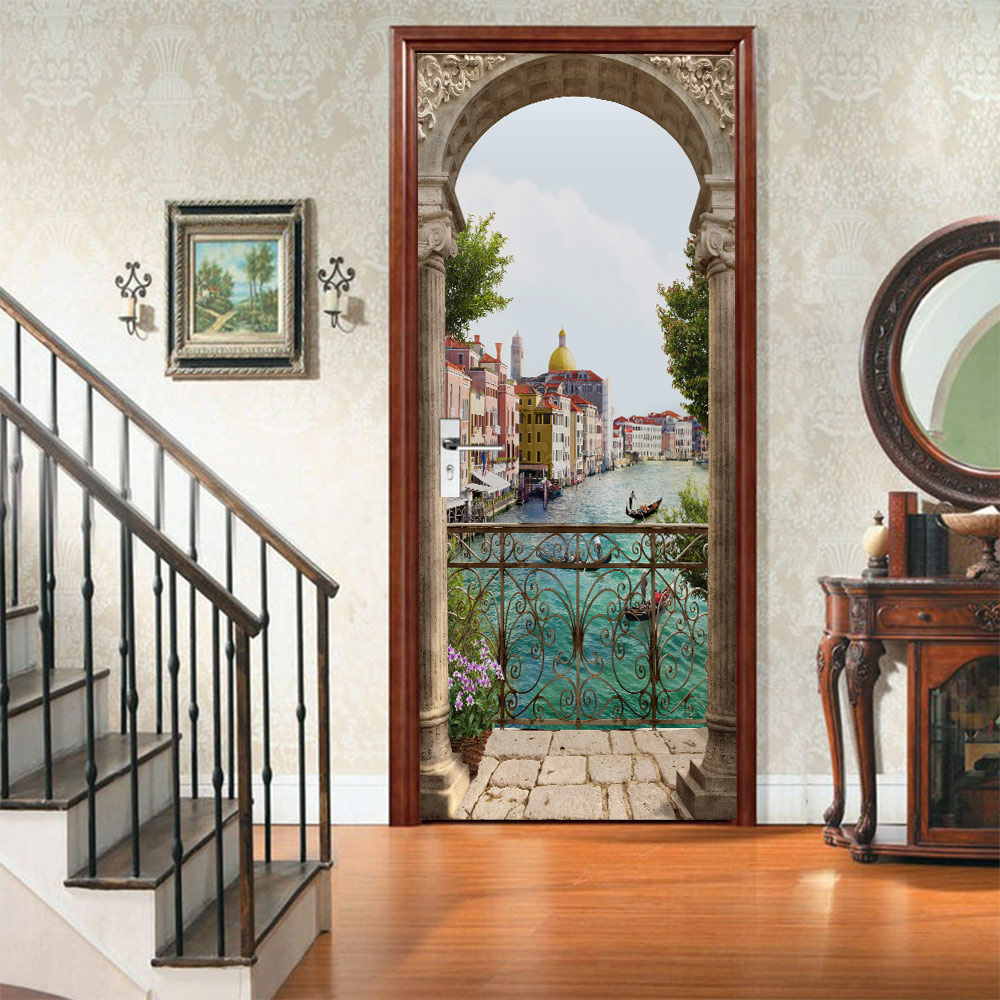 3D Balcony Sea Scape Door Sticker Art DIY Wall Mural Living Room Bedroom Door Wallpaper PVC Self-adhesive Waterproof Home Decor