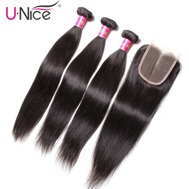 Unice Hair Indian Straight Hair 3 Bundles With Closure Natural Color 100 Human Hair Weaves With