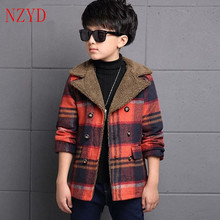 2016 New Fashion Winter Boy Clothes Long Sleeve Lapels Woolen Cloth Coat Lattice Long Sections Thicken Warm Children Coat HL0439