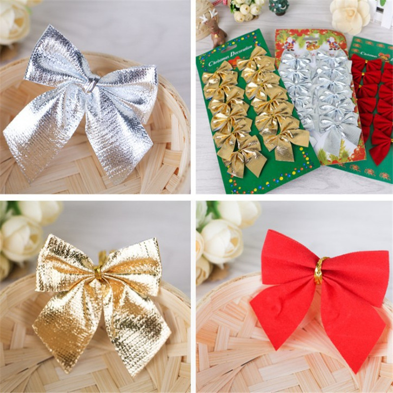 12pcs/lot Bow Tie Christmas Tree Ornaments Decorated